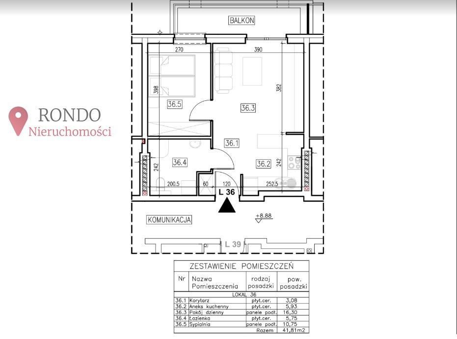 2 Rooms Rooms,1 BathroomBathrooms,Mieszkania,Sprzedaż,1046